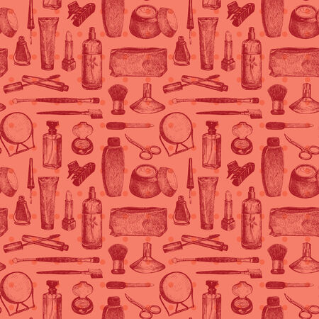 Cosmetics And Beauty Seamless Pattern Background Vector