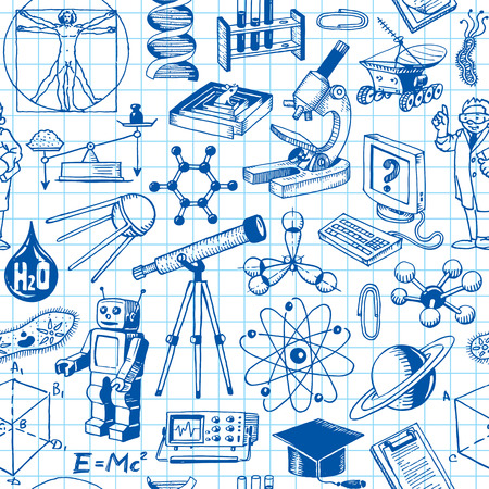 Science And Education Seamless Pattern Background Иллюстрация