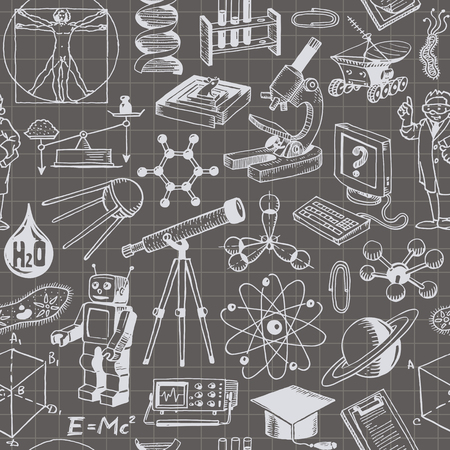 moon rover: Science And Education Seamless Pattern Background Illustration