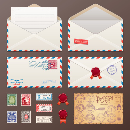 mail: Mail Envelope, Stickers, Stamps And Postcard Vintage Style Vector Illustration