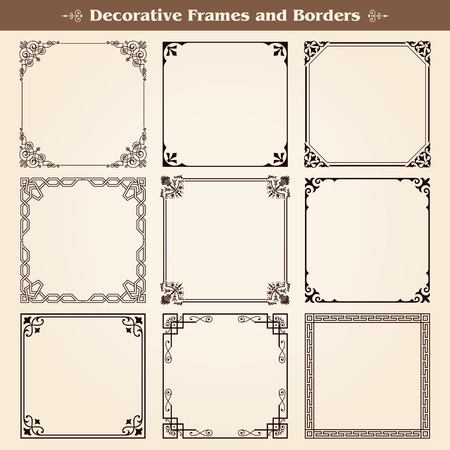Decorative frames and borders set vector Illustration