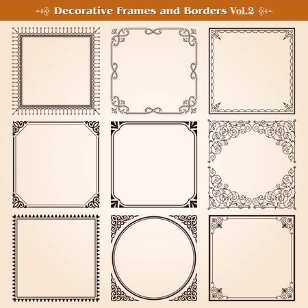 Decorative frames and borders set vector Illustration