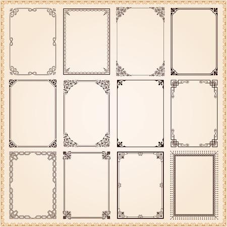 ビンテージ: 装飾的なビンテージ フレーム、ボーダーのベクトルを設定