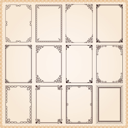 filigree background: Decorative vintage frames and borders set vector