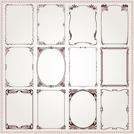 Bordes y marcos decorativos de época Art Nouveau del vector del estilo