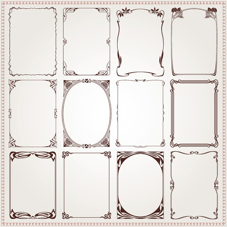 jugendstil: Decorative vintage borders and frames Art Nouveau style vector