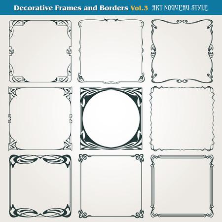 retro art: Decoratieve vintage grenzen en frames Art Nouveau-stijl
