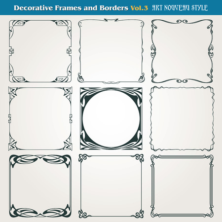 set square: Decorative vintage borders and frames Art Nouveau style