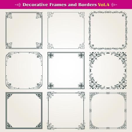 Decoratieve kaders en randen instellen Stock Illustratie