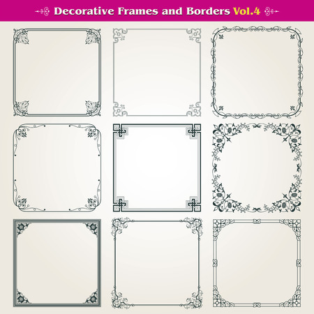 Decorative frames and borders set Illustration