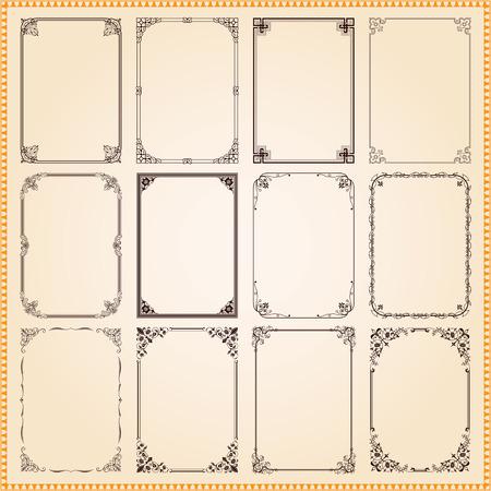 Decoratieve vintage frames en grenzen stellen Stock Illustratie
