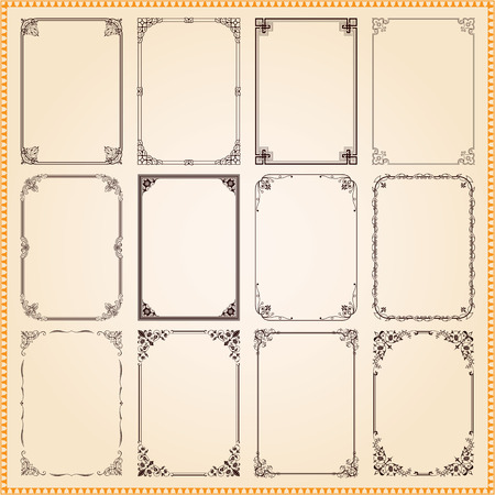 Decorative vintage frames and borders set Çizim