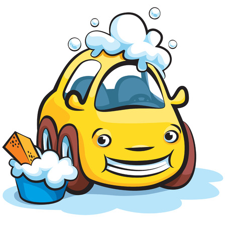 Smiling Yellow Car Wash Cartoon Illustration Vector