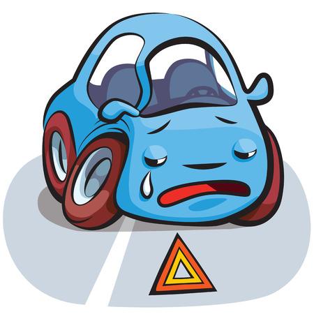 crashed: Crashed Crying Blue Car Cartoon Illustration Vector