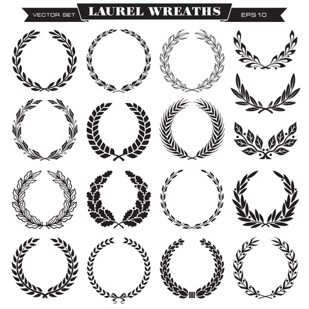 Set of laurel wreaths vector Illustration