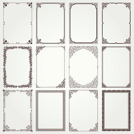 vintage: 復古裝飾框架和邊界設置#4矢量