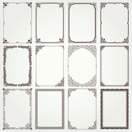 Decorative vintage frames and borders set #4 vector Çizim