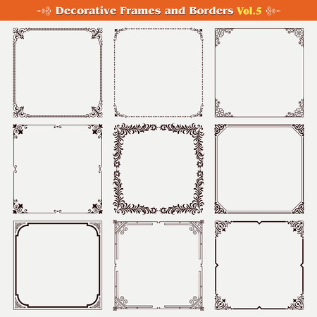 filigree border: Decorative frames and borders set 5 vector