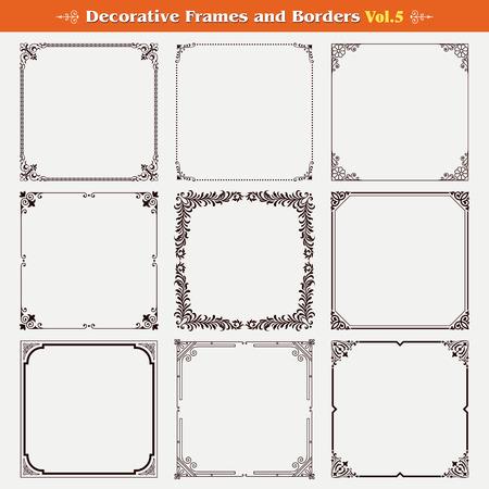 Dekorative Rahmen und Grenzen Set 5 Vektor Illustration