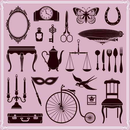 ephemera: Elementi di design Vintage icone, Ephemera e oggetti di Vecchia Era