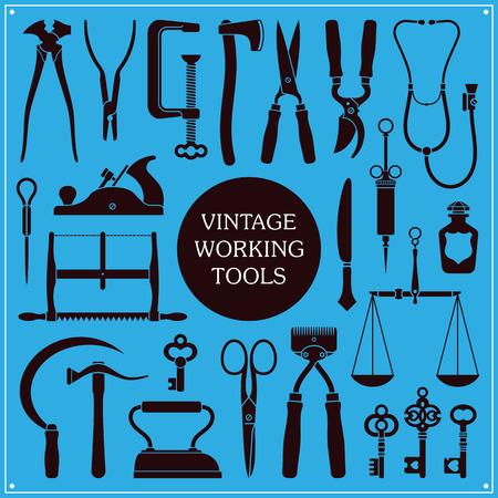 Set of vintage tools, instruments and equipment Illustration