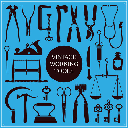 clamps: Set of vintage tools, instruments and equipment Illustration