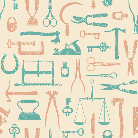 old key: Vintage tools, instruments and equipment seamless pattern