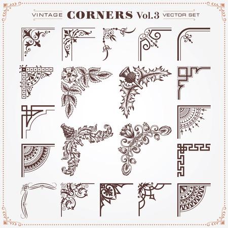 bordure de page: Vintage Design Elements 3 Corners vectorielle Illustration