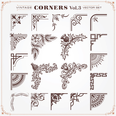 filigree border: Vintage Design Elements Corners 3 Vector
