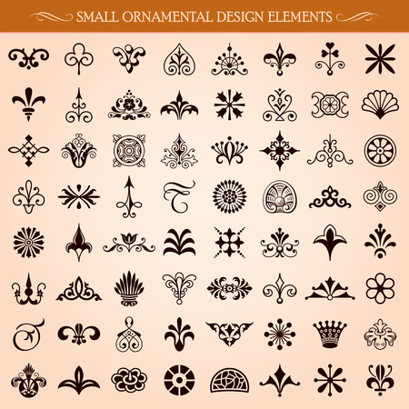 Set of small ornamental design elements and page decoration vector