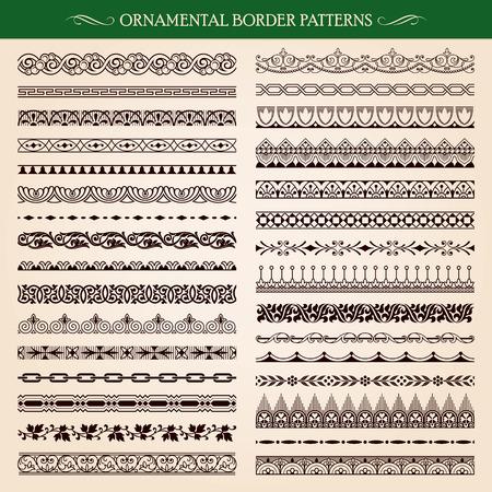 bordes decorativos: Conjunto de estilo vintage frontera ornamental patrones de marcos de vectores