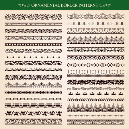 filigree border: Set of vintage style ornamental border frame patterns vector