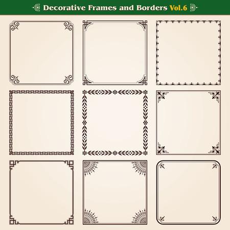 Decoratieve kaders en randen instellen 6 vector