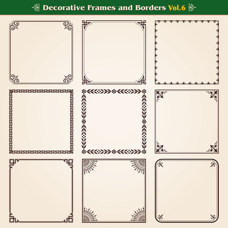 Decorative frames and borders set 6 vector
