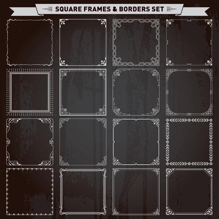 Decorative square frames and borders set vector Illustration
