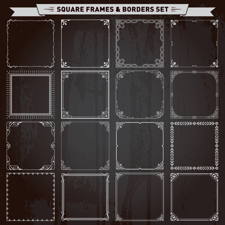 Decorative square frames and borders set vector Çizim