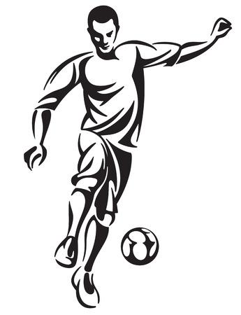 Soccer football player in motion. Vector illustration