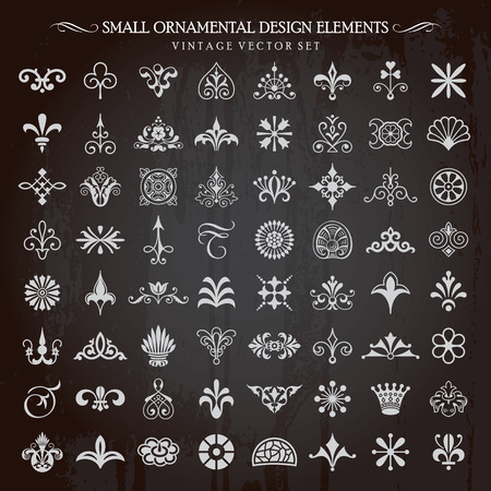 dashes: Set of small ornamental design elements vintage floral swirls and page decoration vector Illustration