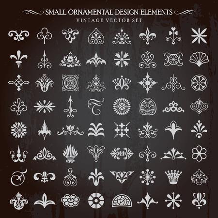 Set van kleine sier design elementen vintage bloemenwervelingen en pagina decoratie vector
