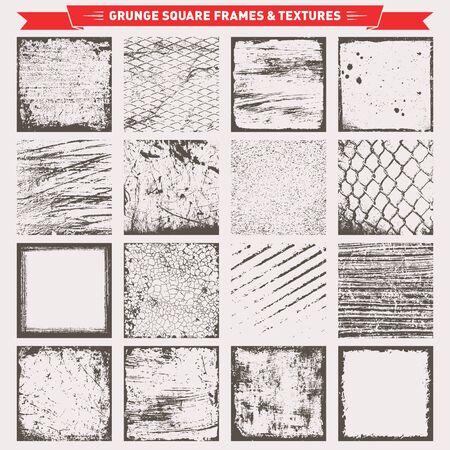 Set Of Grunge cadres carrés frontières Textures Fond Vecteur Vecteurs