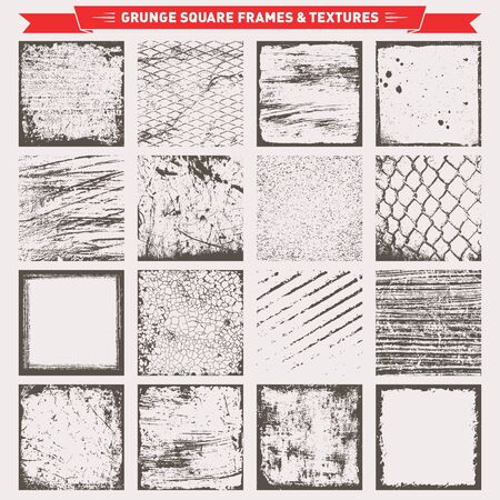 Set Of Grunge Square Frames Borders Textures Backgrounds Vector