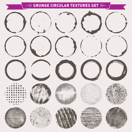 grunge border: Set of 25 grunge circular abstract texture backgrounds frames vector