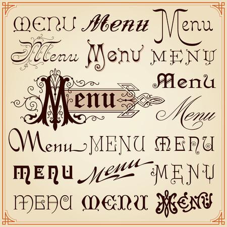 Menu Vintage Retro Style Decoratieve kalligrafische beletteringen Fonts teksten Set Vector