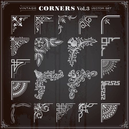Vintage Retro Design Elements Corners And Borders Set 3 Vector Illustration