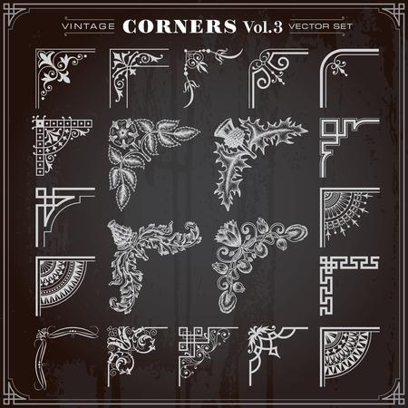 bordes decorativos: Vintage Retro Diseño Elementos esquinas y bordes Set 3 vectorial