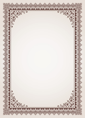 filigree border: Decorative border frame background certificate template vector