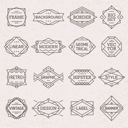 Modern hipster linear geometric frames, borders, labels, backgrounds set vector
