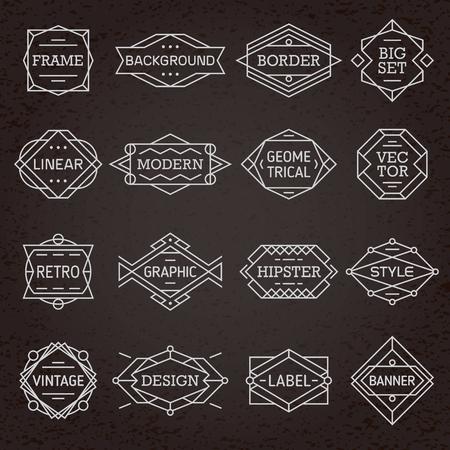Modern hipster linear minimal geometric frames, borders, labels, backgrounds set vector