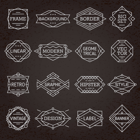 dashes: Modern hipster linear minimal geometric frames, borders, labels, backgrounds set vector
