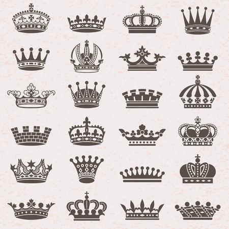 corona real: Conjunto de iconos de la silueta de la corona heráldica Vectores